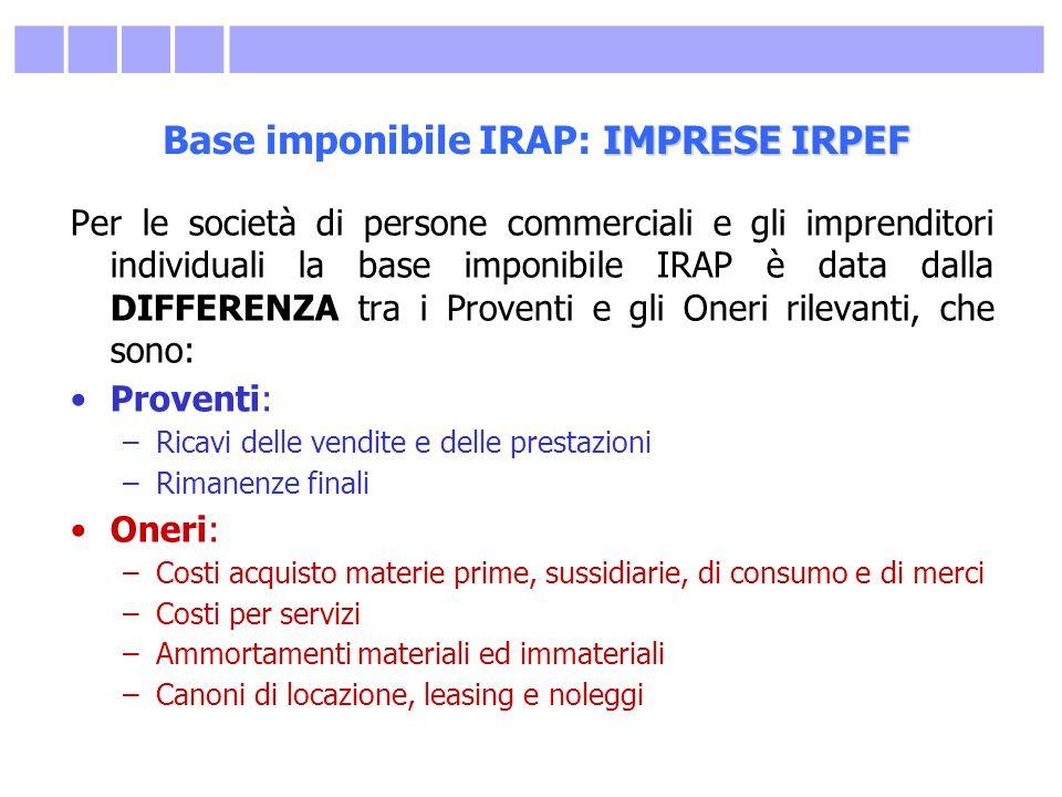 IMPRESE IRPEF Base imponibile IRAP: IMPRESE IRPEF Per le società di persone commerciali e gli imprenditori individuali la base imponibile IRAP è data