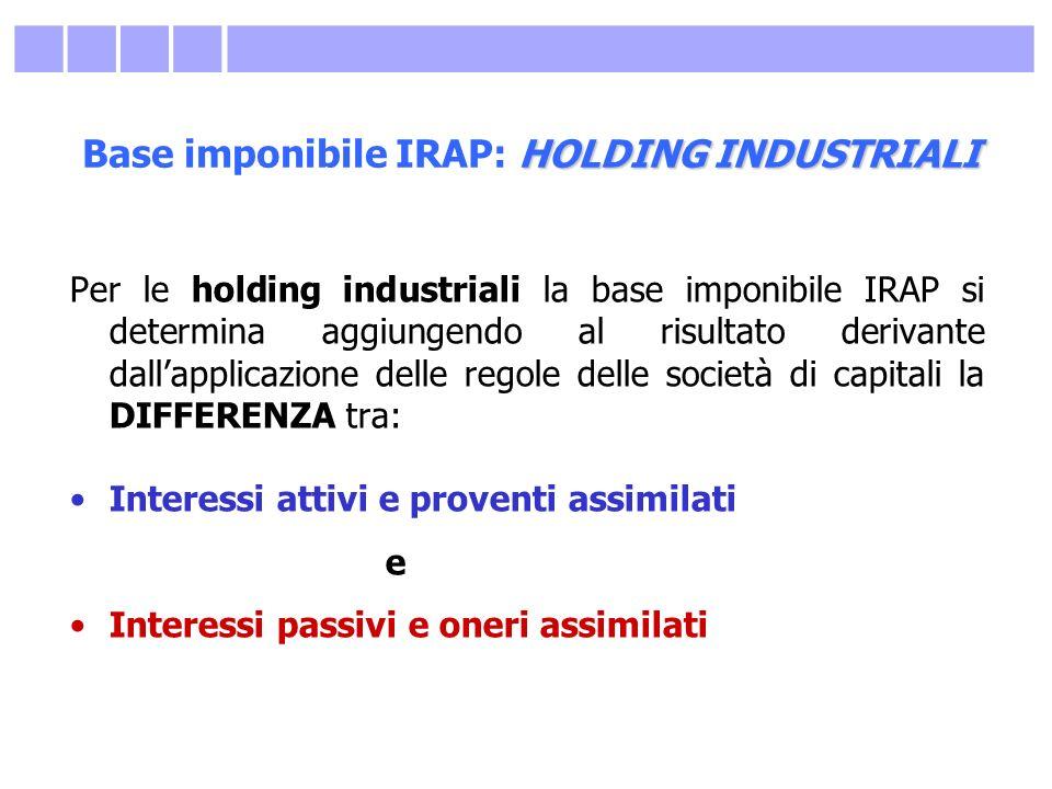 HOLDING INDUSTRIALI Base imponibile IRAP: HOLDING INDUSTRIALI Per le holding industriali la base imponibile IRAP si determina aggiungendo al risultato