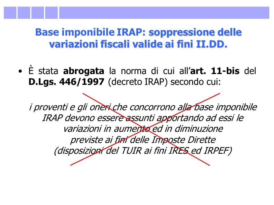 soppressione delle variazioni fiscali valide ai fini II.DD. Base imponibile IRAP: soppressione delle variazioni fiscali valide ai fini II.DD. È stata