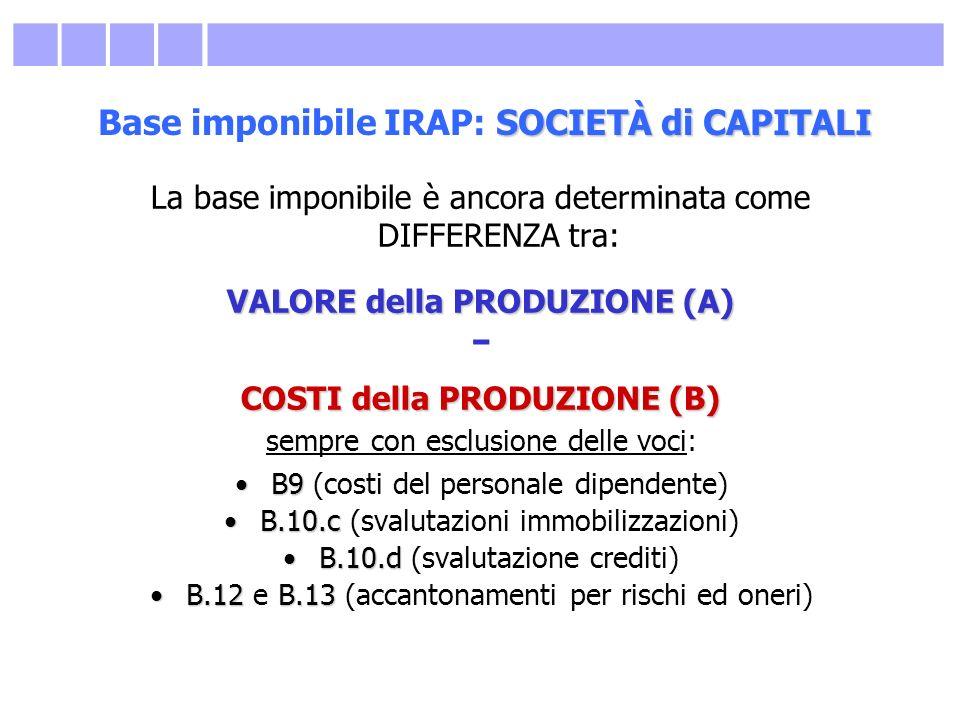 SOCIETÀ di CAPITALI Base imponibile IRAP: SOCIETÀ di CAPITALI La base imponibile è ancora determinata come DIFFERENZA tra: VALORE della PRODUZIONE (A)
