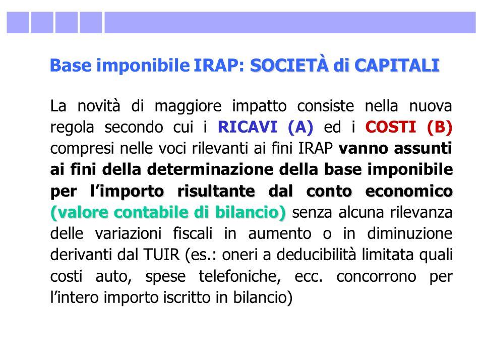 SOCIETÀ di CAPITALI Base imponibile IRAP: SOCIETÀ di CAPITALI importorisultante dal conto economico (valore contabile di bilancio) La novità di maggio