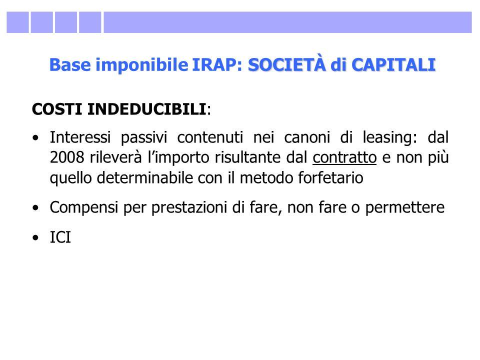 SOCIETÀ di CAPITALI Base imponibile IRAP: SOCIETÀ di CAPITALI COSTI INDEDUCIBILI: Interessi passivi contenuti nei canoni di leasing: dal 2008 rileverà