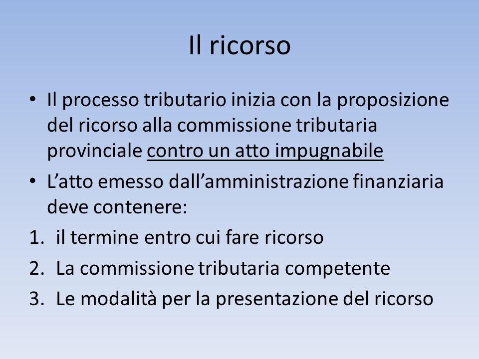 Il ricorso Il processo tributario inizia con la proposizione del ricorso alla commissione tributaria provinciale contro un atto impugnabile Latto emes