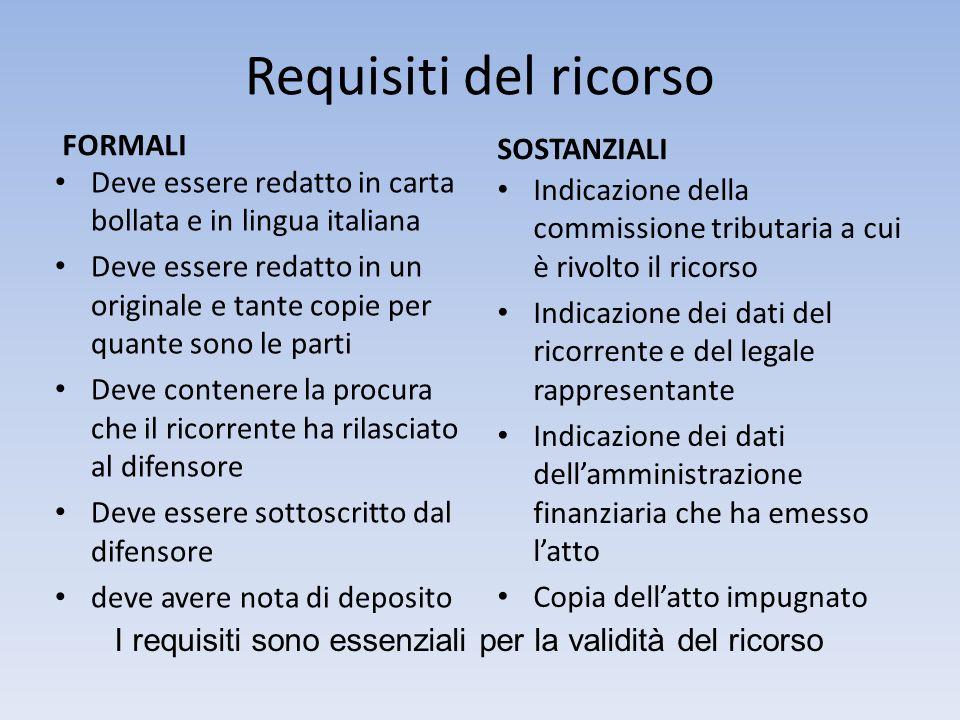 Requisiti del ricorso FORMALI Deve essere redatto in carta bollata e in lingua italiana Deve essere redatto in un originale e tante copie per quante s
