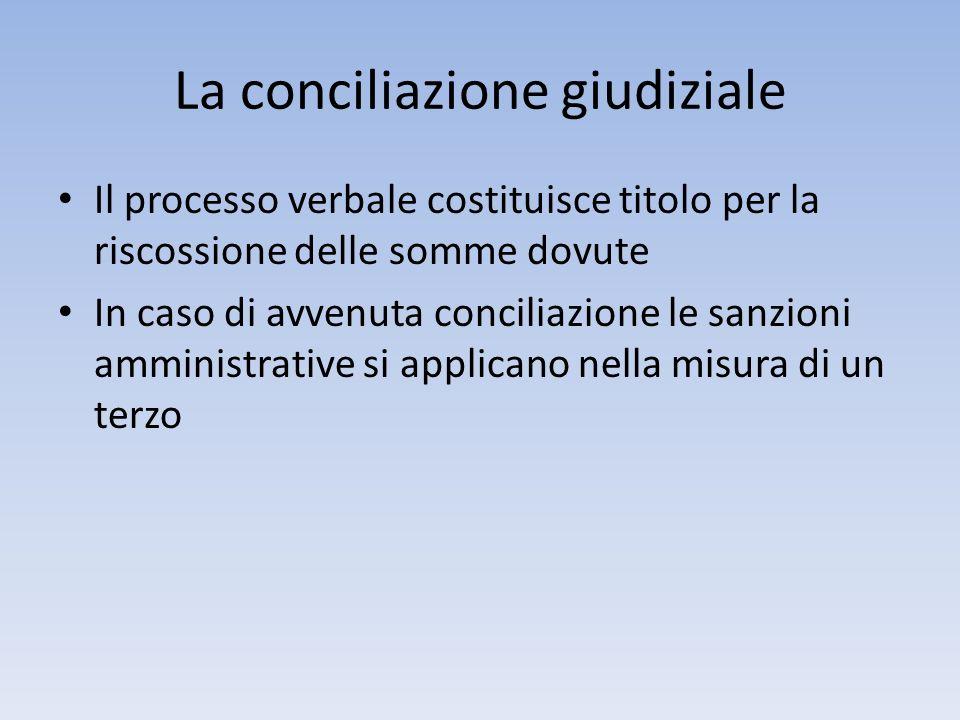La conciliazione giudiziale Il processo verbale costituisce titolo per la riscossione delle somme dovute In caso di avvenuta conciliazione le sanzioni