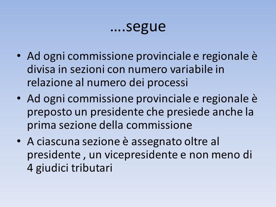 ….segue Ad ogni commissione provinciale e regionale è divisa in sezioni con numero variabile in relazione al numero dei processi Ad ogni commissione p