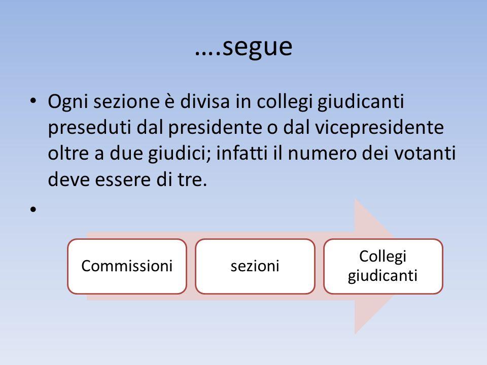 ….segue Ogni sezione è divisa in collegi giudicanti preseduti dal presidente o dal vicepresidente oltre a due giudici; infatti il numero dei votanti d