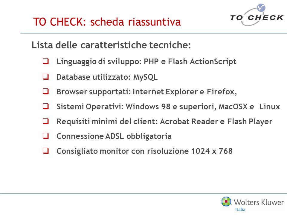 Scopri le caratteristiche e ei vantaggi di TO CHECK www.tocheck.it