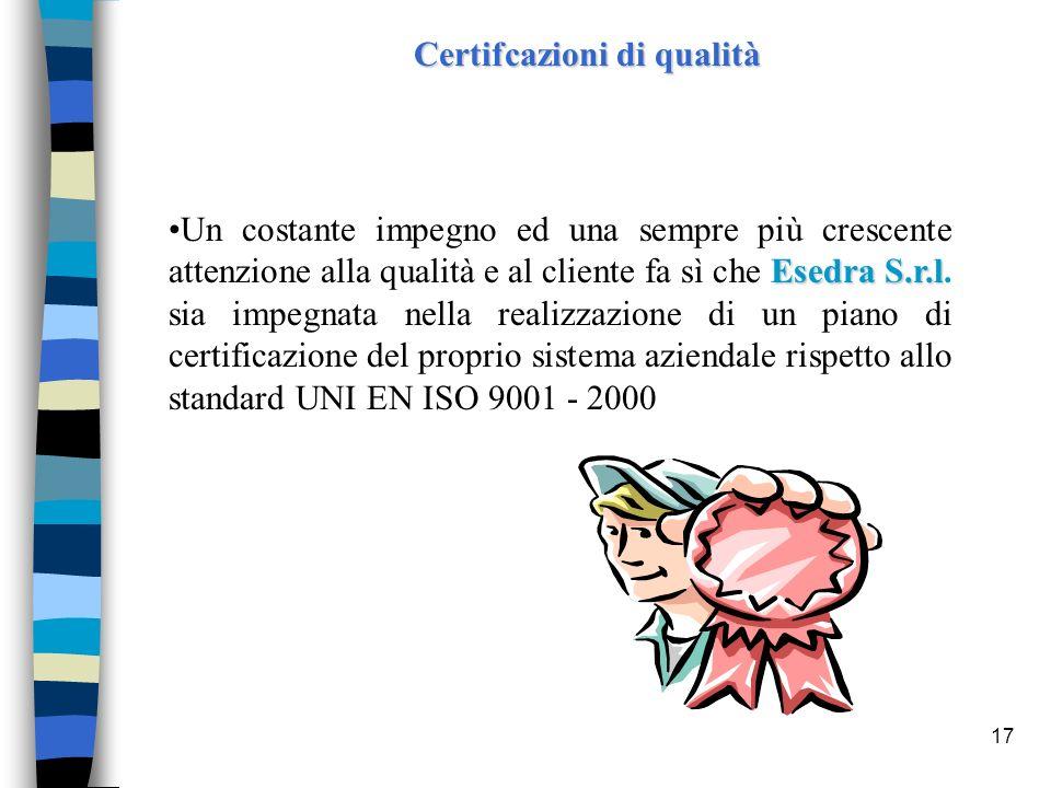 17 Certifcazioni di qualità Esedra S.r.lUn costante impegno ed una sempre più crescente attenzione alla qualità e al cliente fa sì che Esedra S.r.l. s