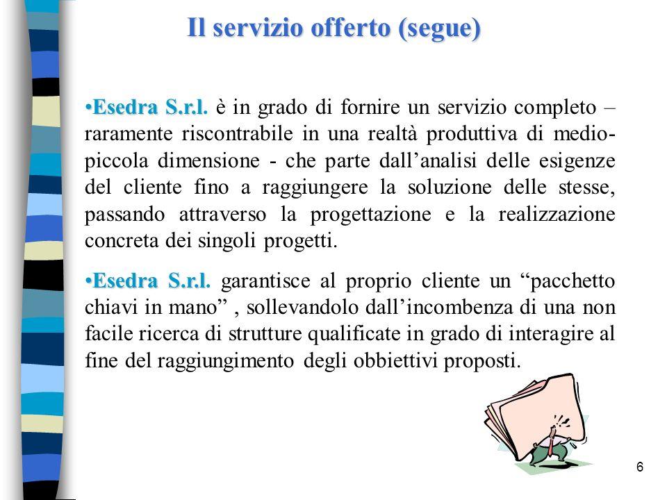 6 Il servizio offerto (segue) Esedra S.r.lEsedra S.r.l. è in grado di fornire un servizio completo – raramente riscontrabile in una realtà produttiva