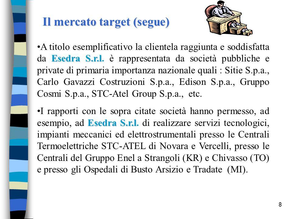 8 Il mercato target (segue) Esedra S.r.lA titolo esemplificativo la clientela raggiunta e soddisfatta da Esedra S.r.l. è rappresentata da società pubb