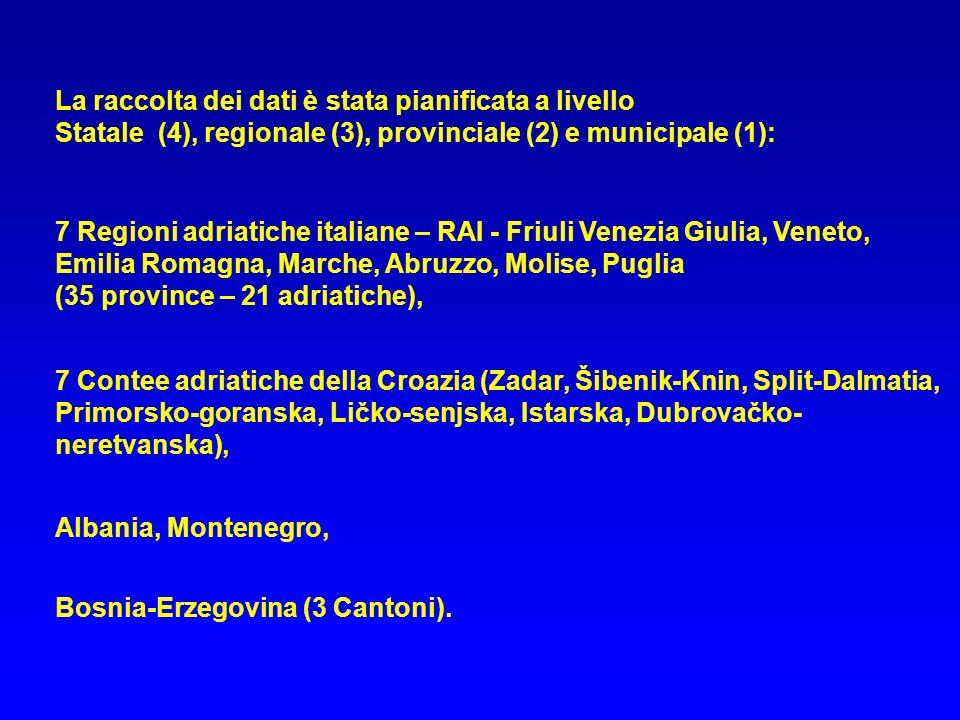 Bosnia-Erzegovina (3 Cantoni). La raccolta dei dati è stata pianificata a livello Statale (4), regionale (3), provinciale (2) e municipale (1): 7 Regi