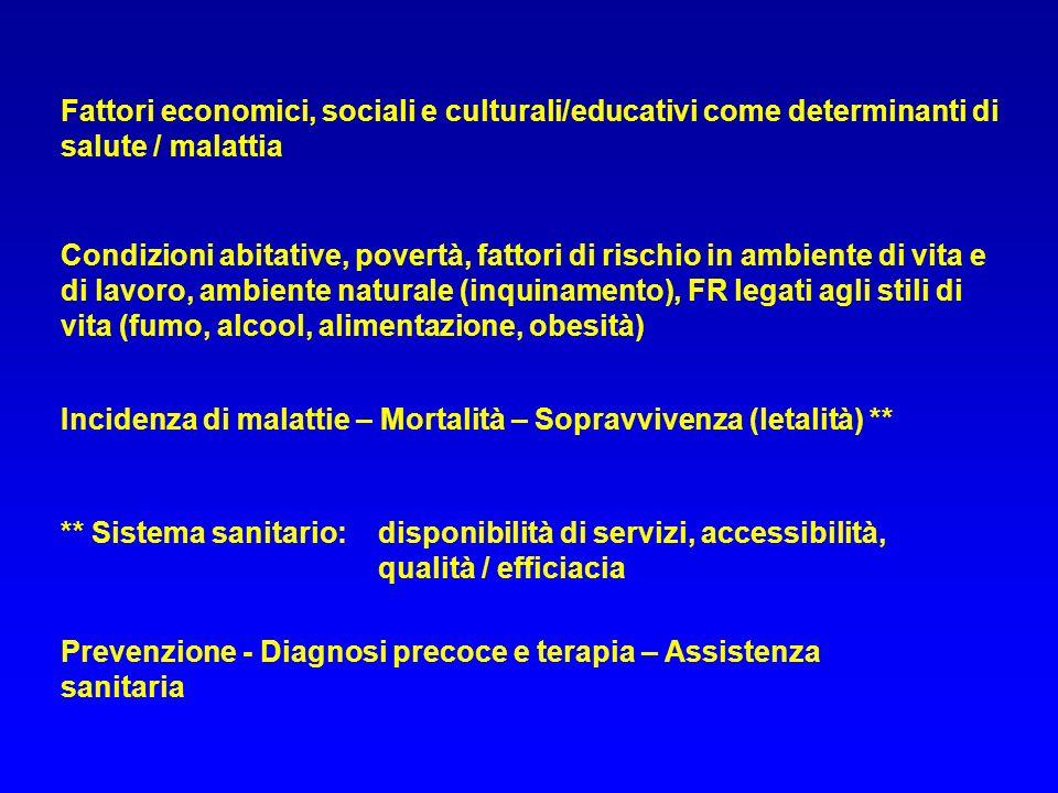 Prevenzione - Diagnosi precoce e terapia – Assistenza sanitaria Fattori economici, sociali e culturali/educativi come determinanti di salute / malatti