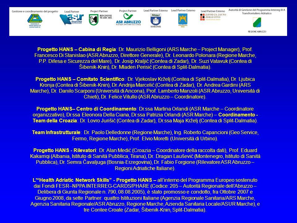 Progetto HANS – Cabina di Regia: Dr. Maurizio Belligoni (ARS Marche – Project Manager), Prof. Francesco Di Stanislao (ASR Abruzzo, Direttore Generale)