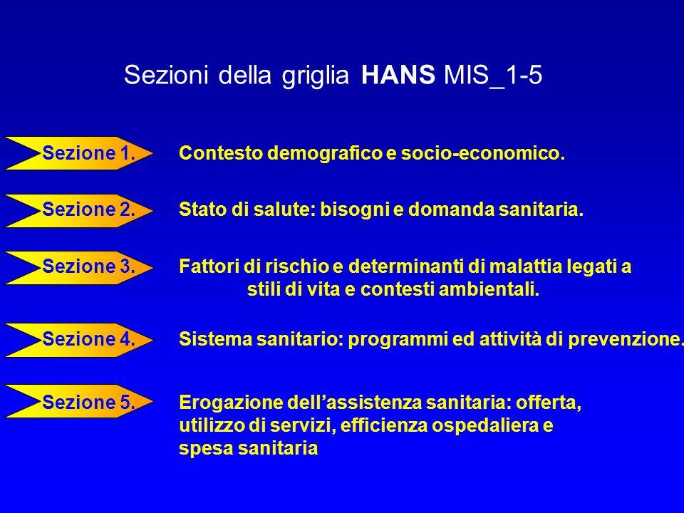 Sezioni della griglia HANS MIS_1-5 Sezione 1. Contesto demografico e socio-economico. Sezione 2. Stato di salute: bisogni e domanda sanitaria. Sezione
