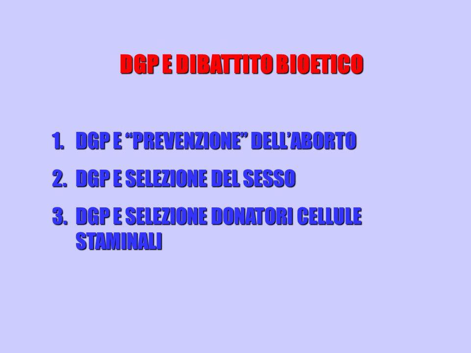 DGP E DIBATTITO BIOETICO 1.DGP E PREVENZIONE DELLABORTO 2.DGP E SELEZIONE DEL SESSO 3.DGP E SELEZIONE DONATORI CELLULE STAMINALI