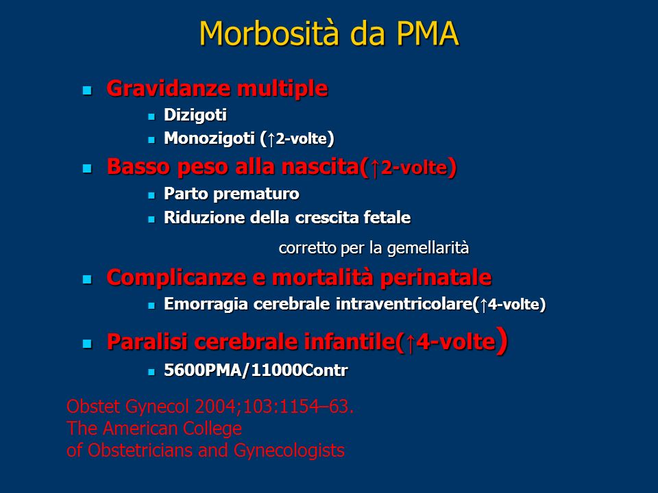 Morbosità da PMA Obstet Gynecol 2004;103:1154–63. The American College of Obstetricians and Gynecologists Gravidanze multiple Gravidanze multiple Dizi