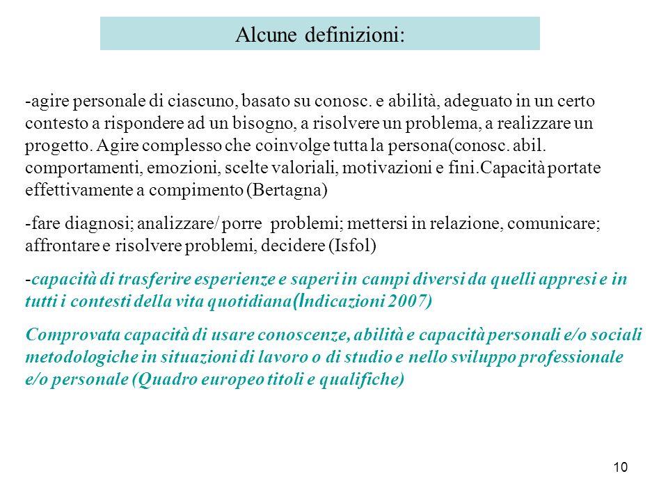 10 Alcune definizioni: -agire personale di ciascuno, basato su conosc. e abilità, adeguato in un certo contesto a rispondere ad un bisogno, a risolver
