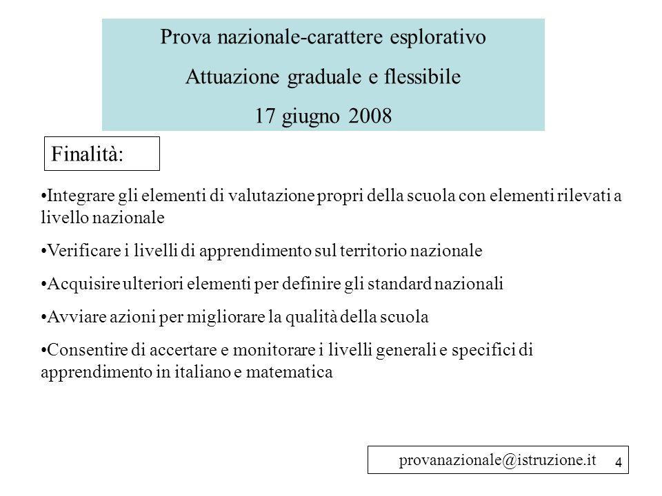4 Prova nazionale-carattere esplorativo Attuazione graduale e flessibile 17 giugno 2008 Finalità: Integrare gli elementi di valutazione propri della s