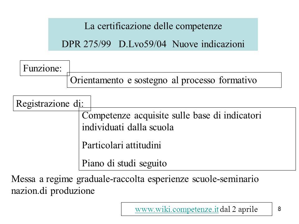 8 La certificazione delle competenze DPR 275/99 D.Lvo59/04 Nuove indicazioni Funzione: Orientamento e sostegno al processo formativo Registrazione di:
