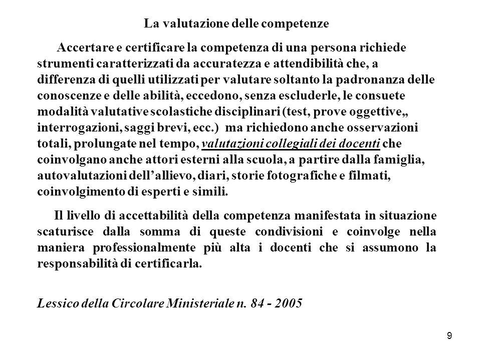 9 La valutazione delle competenze Accertare e certificare la competenza di una persona richiede strumenti caratterizzati da accuratezza e attendibilit