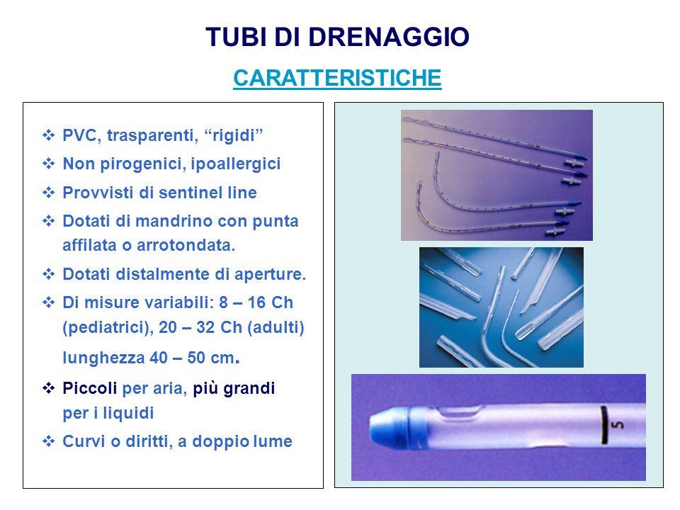 PVC, trasparenti, rigidi Non pirogenici, ipoallergici Provvisti di sentinel line Dotati di mandrino con punta affilata o arrotondata. Dotati distalmen