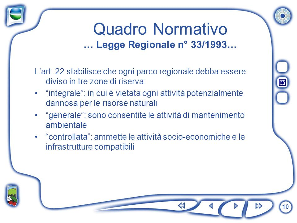 10 Quadro Normativo … Legge Regionale n° 33/1993… Lart. 22 stabilisce che ogni parco regionale debba essere diviso in tre zone di riserva: integrale: