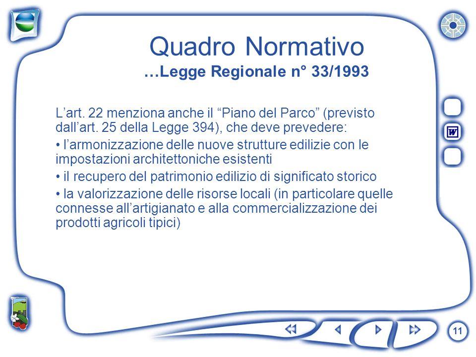 11 Quadro Normativo …Legge Regionale n° 33/1993 Lart. 22 menziona anche il Piano del Parco (previsto dallart. 25 della Legge 394), che deve prevedere: