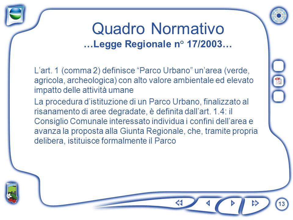 13 Quadro Normativo …Legge Regionale n° 17/2003… Lart. 1 (comma 2) definisce Parco Urbano unarea (verde, agricola, archeologica) con alto valore ambie