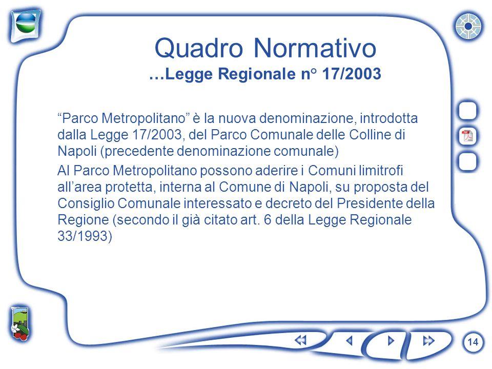 14 Quadro Normativo …Legge Regionale n° 17/2003 Parco Metropolitano è la nuova denominazione, introdotta dalla Legge 17/2003, del Parco Comunale delle
