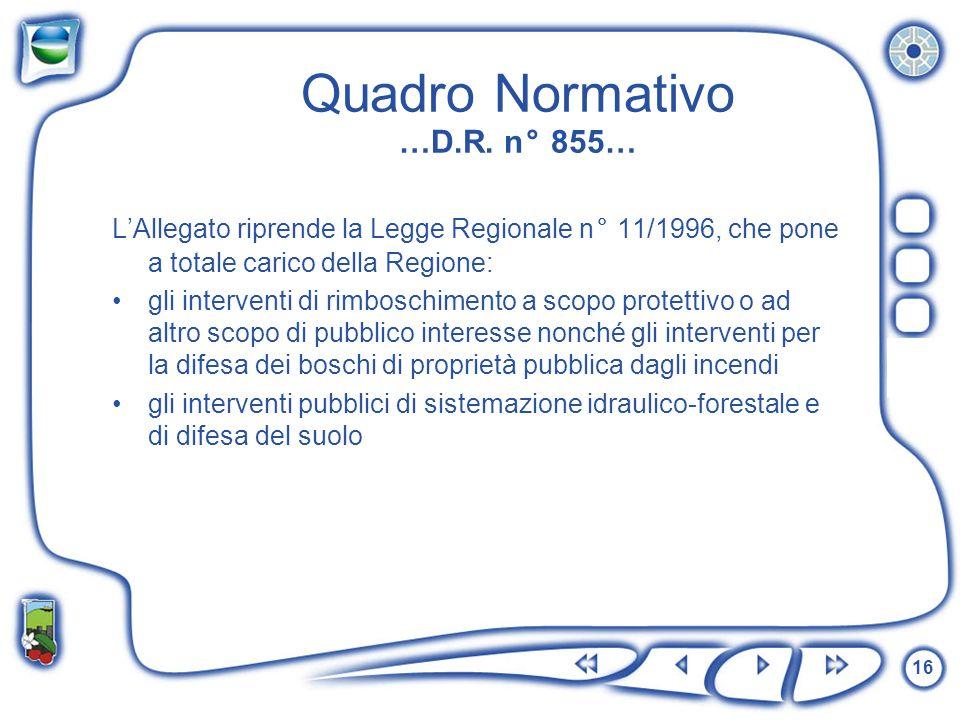16 Quadro Normativo …D.R. n° 855… LAllegato riprende la Legge Regionale n° 11/1996, che pone a totale carico della Regione: gli interventi di rimbosch