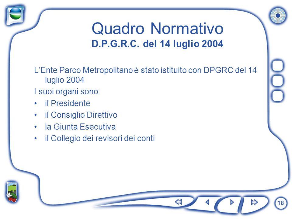 18 Quadro Normativo D.P.G.R.C. del 14 luglio 2004 LEnte Parco Metropolitano è stato istituito con DPGRC del 14 luglio 2004 I suoi organi sono: il Pres
