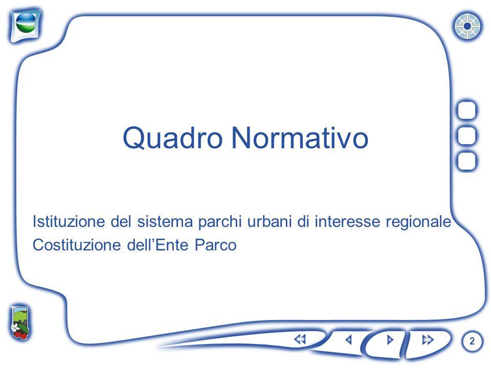 2 Istituzione del sistema parchi urbani di interesse regionale Costituzione dellEnte Parco Quadro Normativo