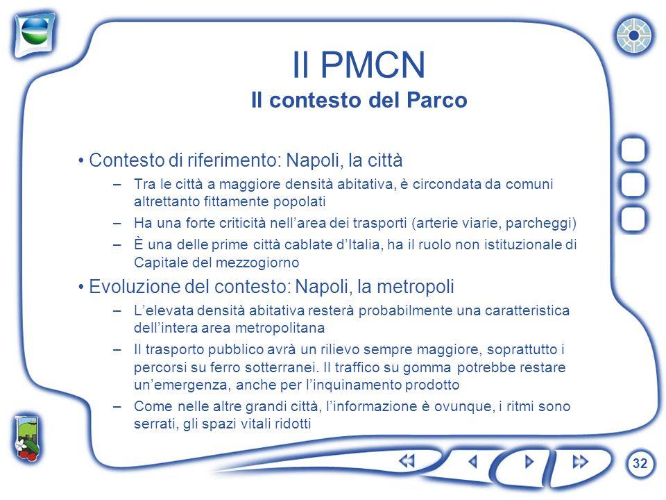 32 Il PMCN Il contesto del Parco Contesto di riferimento: Napoli, la città –Tra le città a maggiore densità abitativa, è circondata da comuni altretta
