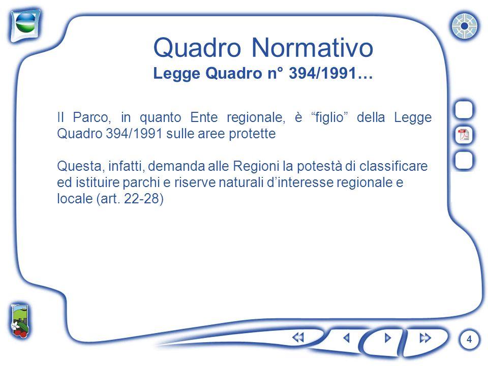 4 Quadro Normativo Legge Quadro n° 394/1991… Il Parco, in quanto Ente regionale, è figlio della Legge Quadro 394/1991 sulle aree protette Questa, infa