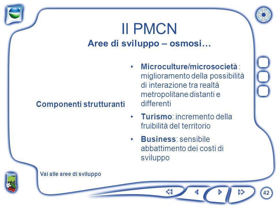 42 Il PMCN Aree di sviluppo – osmosi… Componenti strutturanti Microculture/microsocietà : miglioramento della possibilità di interazione tra realtà me