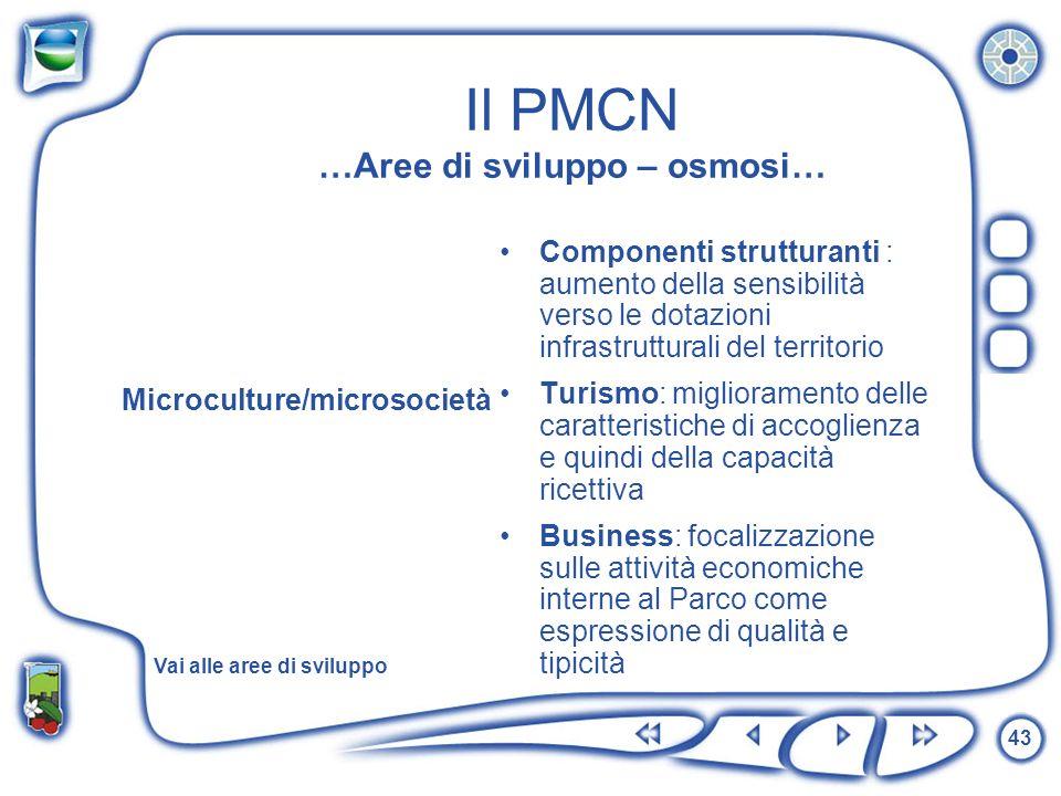 43 Il PMCN …Aree di sviluppo – osmosi… Microculture/microsocietà Componenti strutturanti : aumento della sensibilità verso le dotazioni infrastruttura