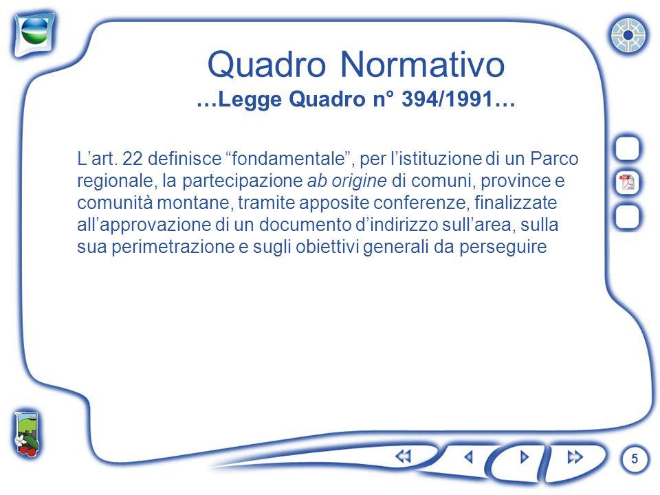 5 Quadro Normativo …Legge Quadro n° 394/1991… Lart. 22 definisce fondamentale, per listituzione di un Parco regionale, la partecipazione ab origine di