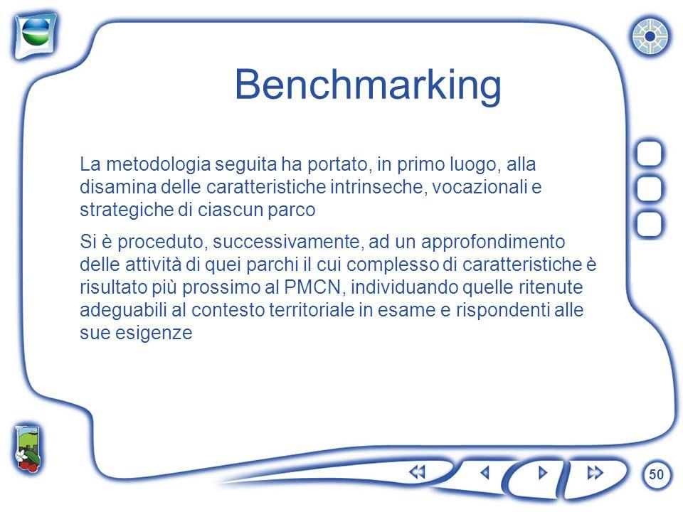 50 Benchmarking La metodologia seguita ha portato, in primo luogo, alla disamina delle caratteristiche intrinseche, vocazionali e strategiche di ciasc