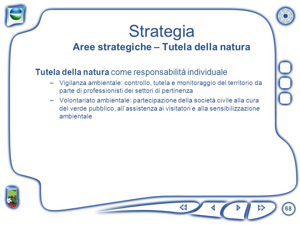 68 Strategia Aree strategiche – Tutela della natura Tutela della natura come responsabilità individuale –Vigilanza ambientale: controllo, tutela e mon