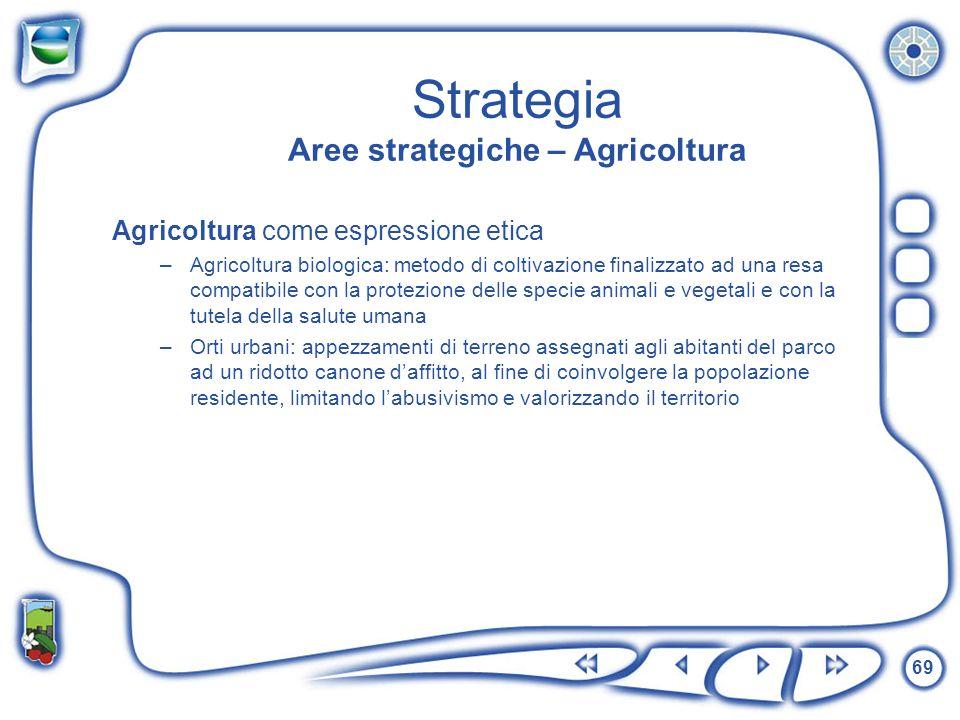 69 Strategia Aree strategiche – Agricoltura Agricoltura come espressione etica –Agricoltura biologica: metodo di coltivazione finalizzato ad una resa