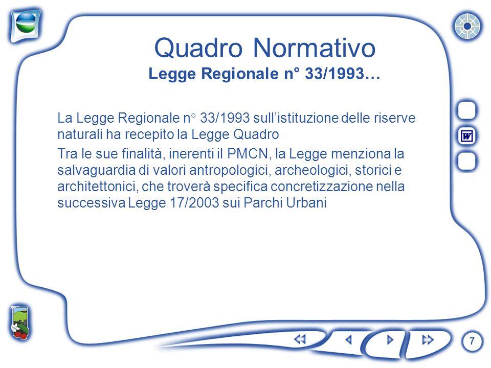 7 Quadro Normativo Legge Regionale n° 33/1993… La Legge Regionale n° 33/1993 sullistituzione delle riserve naturali ha recepito la Legge Quadro Tra le