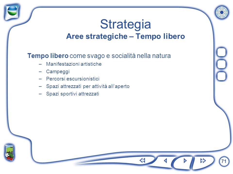 71 Strategia Aree strategiche – Tempo libero Tempo libero come svago e socialità nella natura –Manifestazioni artistiche –Campeggi –Percorsi escursion