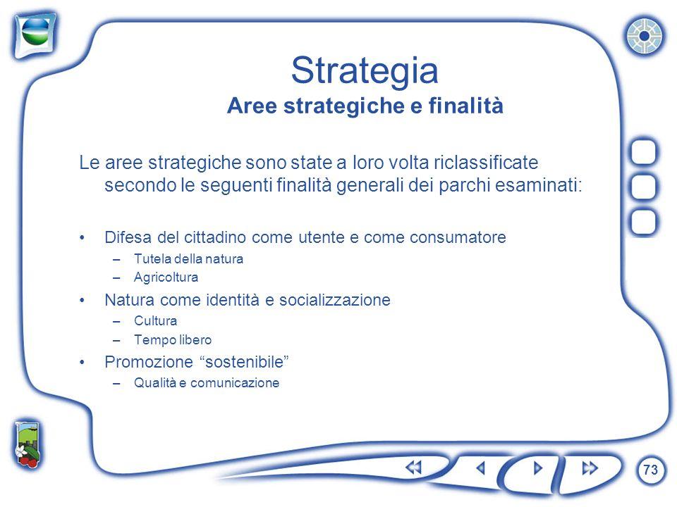 73 Strategia Aree strategiche e finalità Le aree strategiche sono state a loro volta riclassificate secondo le seguenti finalità generali dei parchi e