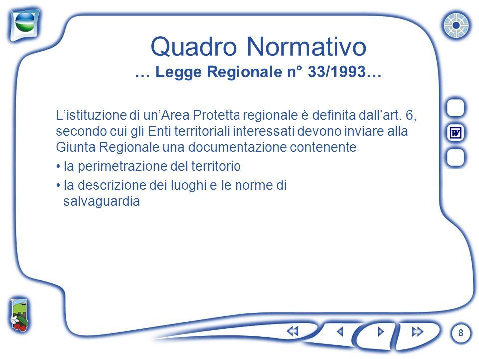 8 Quadro Normativo … Legge Regionale n° 33/1993… Listituzione di unArea Protetta regionale è definita dallart. 6, secondo cui gli Enti territoriali in