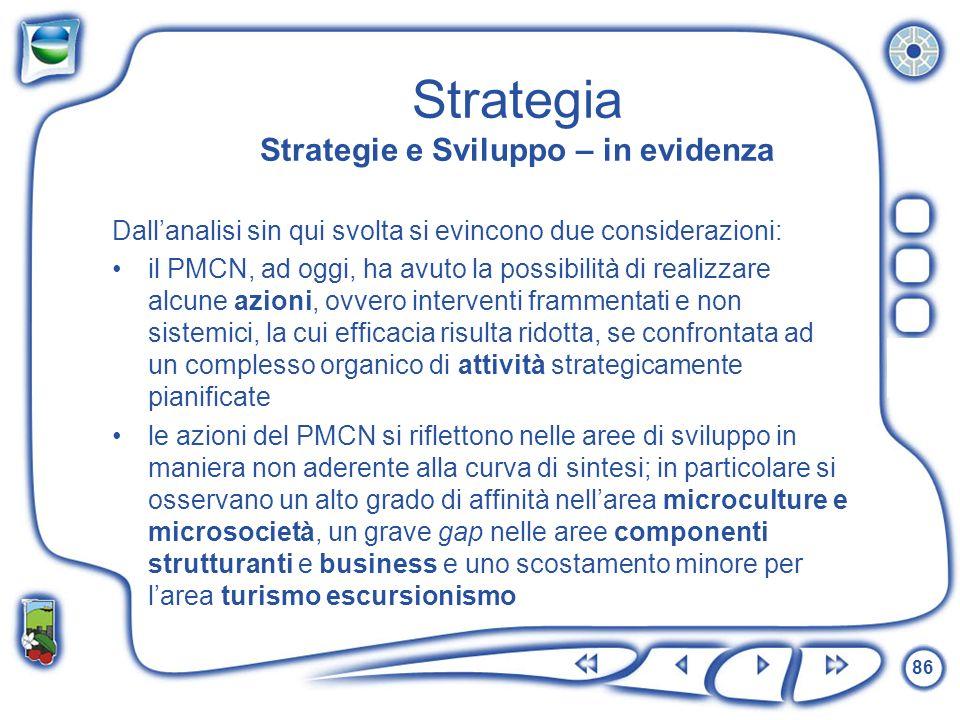 86 Strategia Strategie e Sviluppo – in evidenza Dallanalisi sin qui svolta si evincono due considerazioni: il PMCN, ad oggi, ha avuto la possibilità d