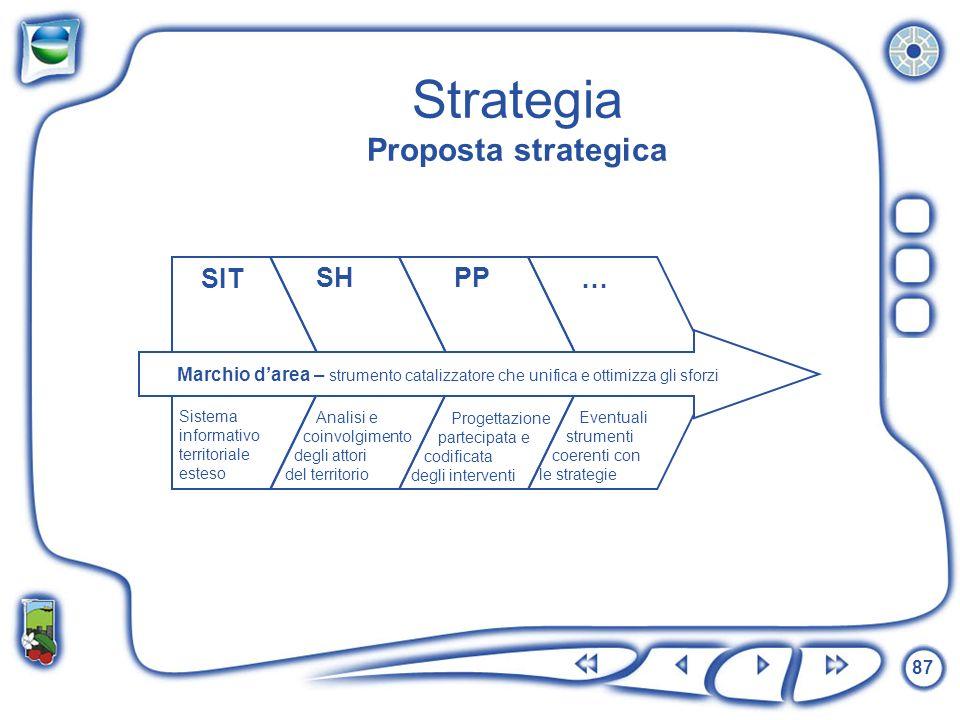 87 Strategia Proposta strategica SIT Eventuali strumenti coerenti con le strategie … Progettazione partecipata e codificata degli interventi Analisi e