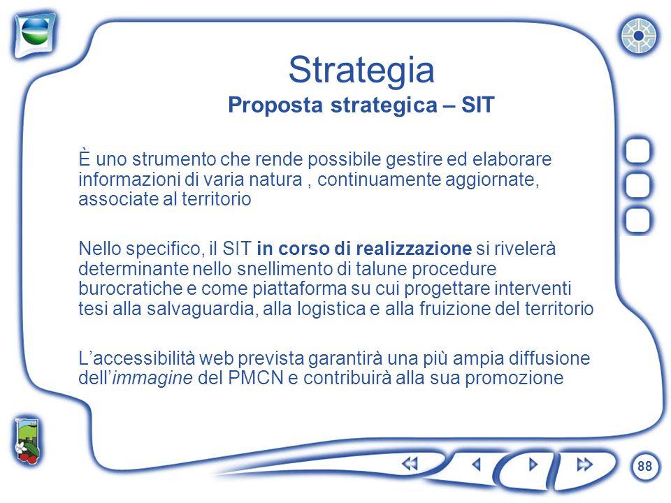 88 Strategia Proposta strategica – SIT È uno strumento che rende possibile gestire ed elaborare informazioni di varia natura, continuamente aggiornate
