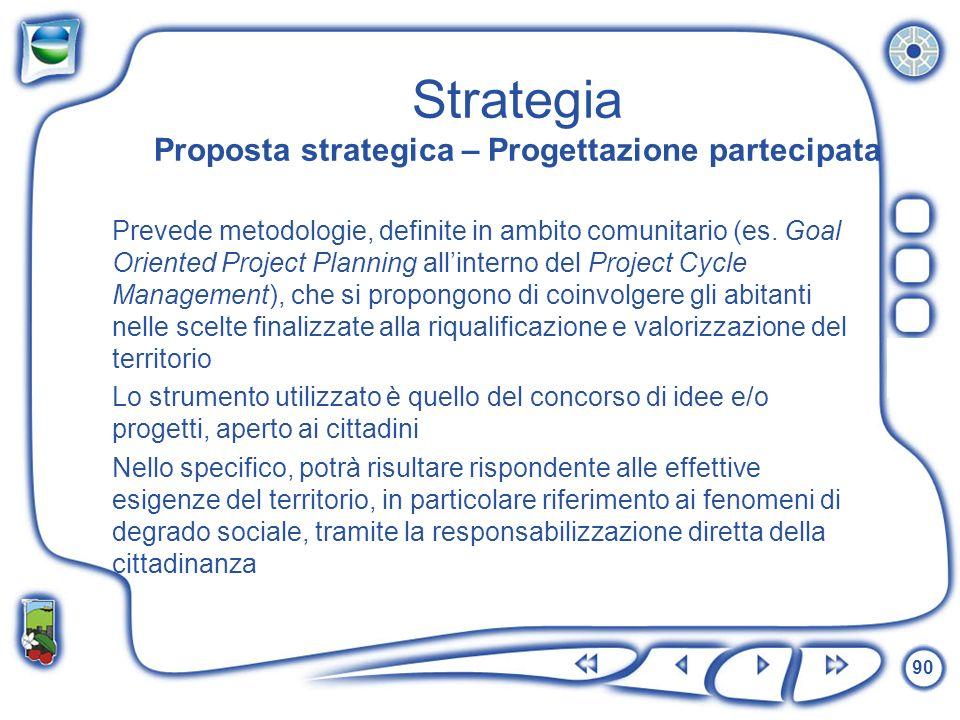 90 Strategia Proposta strategica – Progettazione partecipata Prevede metodologie, definite in ambito comunitario (es. Goal Oriented Project Planning a