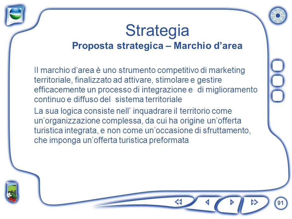 91 Strategia Proposta strategica – Marchio darea Il marchio darea è uno strumento competitivo di marketing territoriale, finalizzato ad attivare, stim